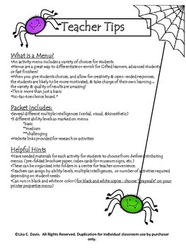 Spider Sleuth! Creepy Crawly Research Activity Menu for Gifted and Enrichment