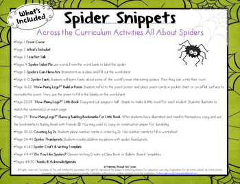 Spider Snippets: Math and Literacy Activities
