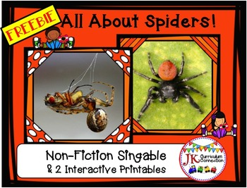 Spider Song - All About Spiders Non-fiction Song FREEBIE