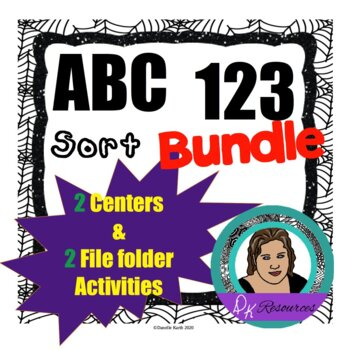 Spider Sorting Pack with ABC's and 123's for letter and number practice!