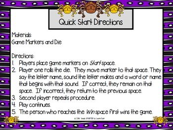 Spider Sounds:  NO PREP Beginning Sounds Game