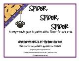 Spider, Spider, Spider: Addition fluency practice for Halloween