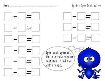 Spider Spin Addition and Subtraction Math Center