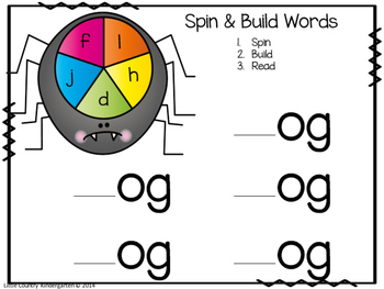 Spider Spin, Build, Read Literacy Center: Building CVC Words