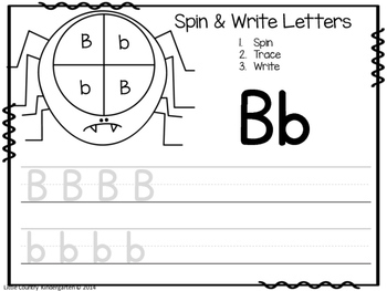 Halloween Letter Recognition: Spider Spin, Trace, Write Literacy Center