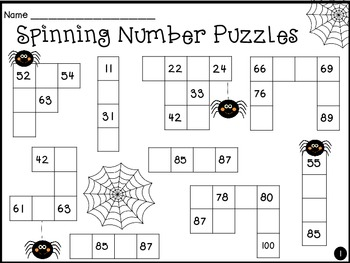 Spider Spinning Number Puzzles AND Missing Numbers