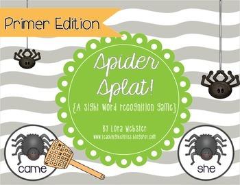 Spider Splat! Primer Edition {a sight word game}