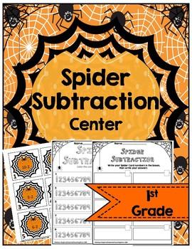 Halloween Math Activity-Spider Subtraction Center
