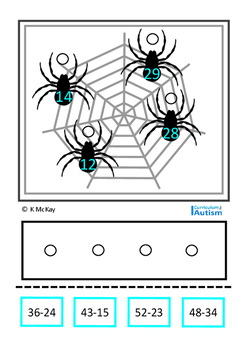 Double Digit Subtraction Spiders Autism Special Education Math Centers