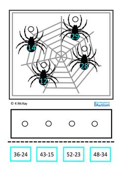 Double Digit Subtraction Spiders Autism Special Education Math Centers