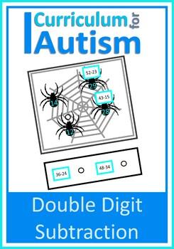 Double Digit Subtraction, Spiders Math Center, Autism Spec