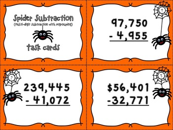 Spider Subtraction - Multi-digit Numbers