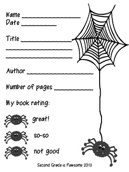 Spider Themed Book Report Activity