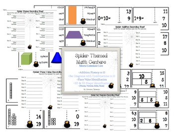 Spider Themed Math Centers Common Core Activity Pack