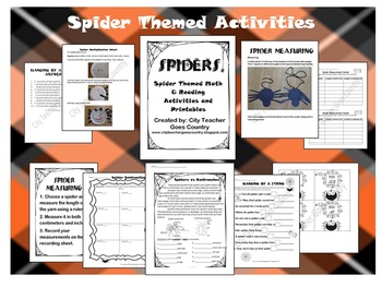 Spider Themed - Math, Reading, Language Arts - Activities, Centers, Worksheets