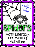 Spiders Math, Literacy, and Writing Activities!