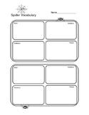 Spider Vocabulary Four Square