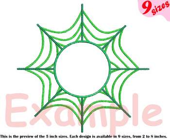 Spider Web Circle Embroidery Design Outline Frame Halloween Spiderweb 208b