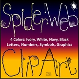 Spider Web Clip Art: Numbers, Letters, Symbols, Graphics in 4 Colors