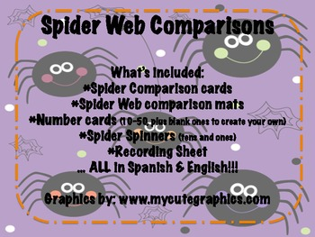 Spider Web Comparisons {a comparing number math tub} in Spanish & English!!