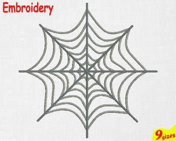 Spider Web Embroidery Machine digital 4x4 5x7 hoop Stiches Halloween 105b