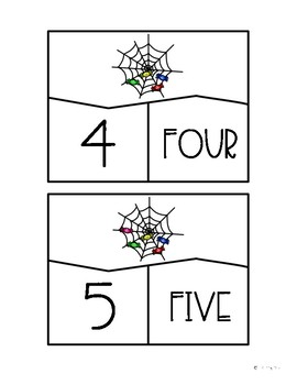 Spider Web Number Puzzles 1-10 Math Center