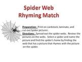 Spider Web Rhyming Match Halloween Fun