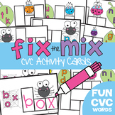 cvc Word Cards - Fix the Mix Write n Wipe Cards - Literacy Center