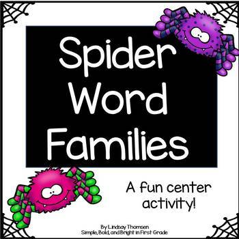 Spider Word Family Center (22 word family mats and word family cards)