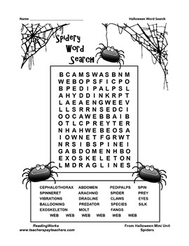 Spidery Word Search ~ FREE ~