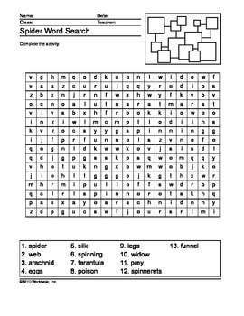 Spider Word Search Printable