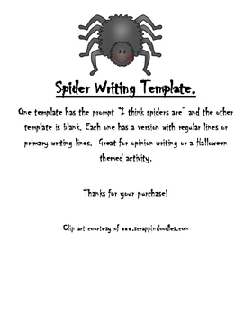 spider writing paper template halloween and or opinion writing