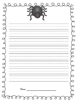 Spider Writing Paper Template   Halloween And/or Opinion Writing  Handwriting Paper Template
