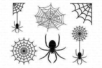 Spider and Spider Web SVG files for Silhouette Cameo and Cricut. Clipart  PNG