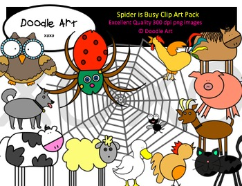 Spider is Busy Clipart Pack