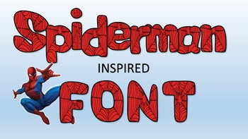 Spider man inspired font! Great for classroom, commercial