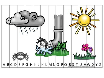Spider themed Alphabet Sequence Puzzle child daycare curriculum activity.