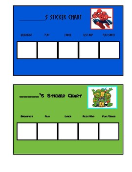 Spiderman and TMNT sticker chart