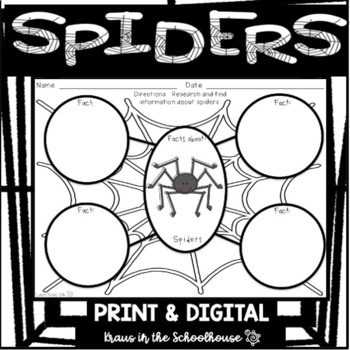 Spiders Research Activities and Graphic Organizers