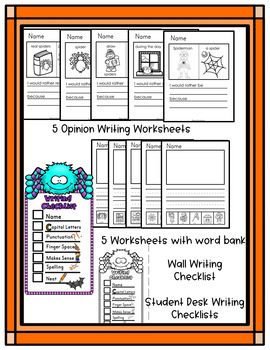 Halloween Activities * Halloween Writing Kindergarten * Spider Writing Center