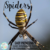 Spiders Informational Texts: Main Idea, Comprehension Questions, Facts