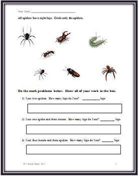 Spiders Mini Reading and Science Comprehension Unit with a Math Component