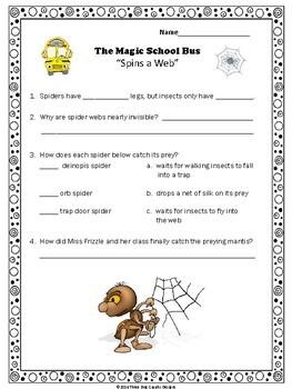 "Spiders Adaptations Magic School Bus ""Spins a Web"" Video Response Form"