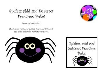 Spiders Add and Subtract Fractions Poke