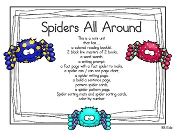 Spiders All Around is a Spider Unit with Printable Activities and Booklets