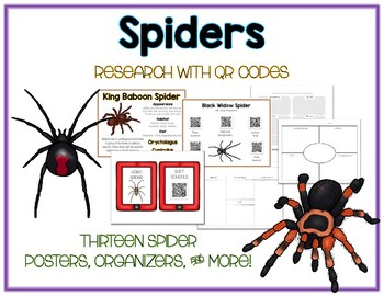 Spiders - Animal Research w QR Codes, Posters, Organizer - 13 Pack