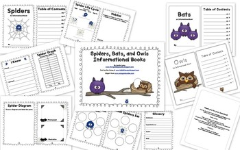 Spiders, Bats, and Owls Informational Books
