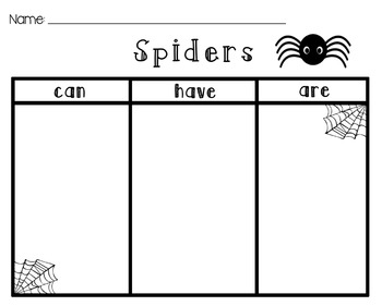 [Spiders] Can, Have, Are [Graphic Organizer]