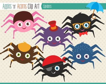Spiders Clip Art - color and outlines