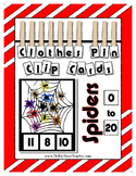 Spiders Clip Card Clothes Pin Cards ~ Math Center ~ Halloween Insect Bug Theme